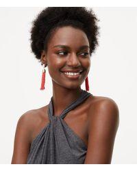 LOFT - Red Seed Bead Tassel Earrings - Lyst