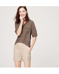 "LOFT - Brown Riviera Shorts With 6"" Inseam - Lyst"