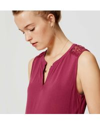 LOFT - Red Crochet Mixed Media Peplum Top - Lyst