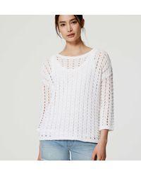 LOFT - White Open Stitch Sweater - Lyst