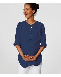 LOFT - Blue Petite Maternity Shirred Utility Blouse - Lyst