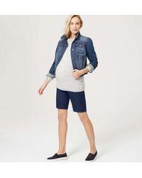 "LOFT - Blue Petite Maternity Walking Shorts With 9"" Inseam - Lyst"