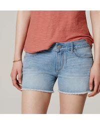LOFT - Blue Cut Off Denim Shorts In Original Light Indigo Wash - Lyst
