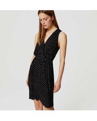 LOFT - Black Petite Leafy Double V Flare Dress - Lyst