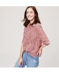 LOFT - Pink Cotton Button Down Shirt - Lyst