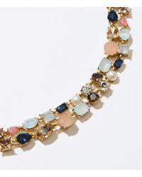 LOFT - Metallic Mixed Stone Statement Necklace - Lyst