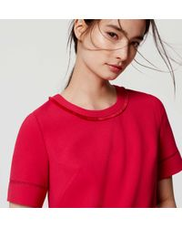 LOFT - Red Ladder Lace Shift Dress - Lyst