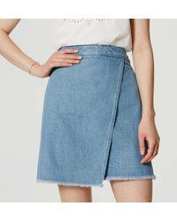 LOFT - Blue Denim Wrap Skirt - Lyst