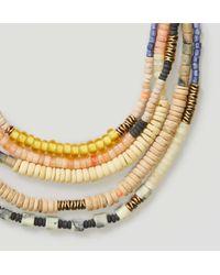 LOFT - Metallic Wooden Bead Multistrand Necklace - Lyst
