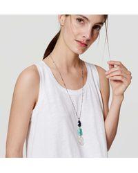 LOFT - Multicolor Triple Stone Pendant Necklace - Lyst