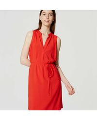 LOFT - Red Sleeveless Tie Waist Shirtdress - Lyst