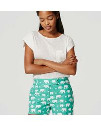 "LOFT - Green Elephant Riviera Shorts With 4"" Inseam - Lyst"