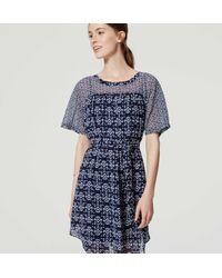 LOFT - Blue Petite Mosaic Tie Waist Dress - Lyst