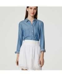 LOFT - White Petite Geo Eyelet Skirt - Lyst