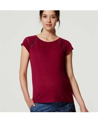 LOFT | Red Maternity Ladder Lace Tee | Lyst