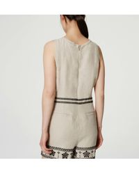 LOFT - Natural Petite Embroidered Linen Romper - Lyst