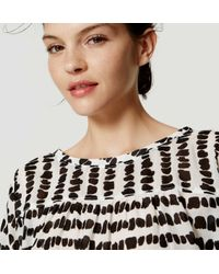 LOFT - White Petite Spot Stripe Drop Shoulder Blouse - Lyst