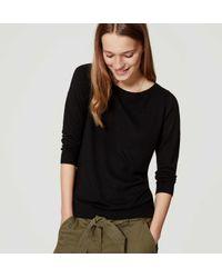LOFT Black Petite Button Back Sweater