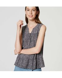 LOFT - Blue Mosaic Smocked Tie Neck Top - Lyst