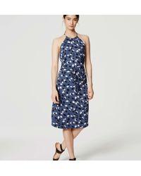 LOFT - Blue Petite Vine Halter Midi Dress - Lyst