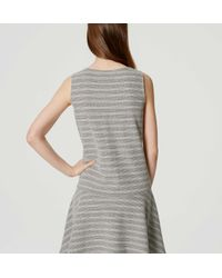 LOFT - Gray Tall Textured Stripe Drop Waist Dress - Lyst