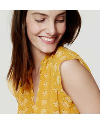 LOFT - Yellow Petite Bouquet Flutter Top - Lyst
