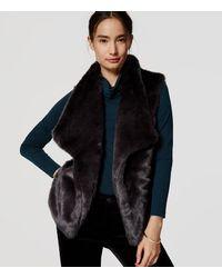 LOFT | Gray Faux Fur Vest | Lyst