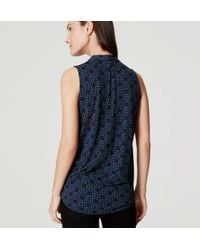 LOFT - Blue Fireworks Bow Neck Shell - Lyst