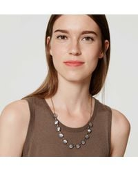 LOFT - Metallic Stone Bar Necklace - Lyst