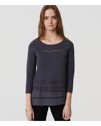 LOFT | Gray Lacy Mixed Media Sweater | Lyst