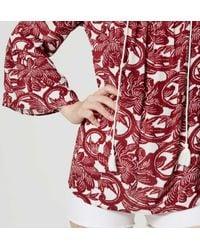 LOFT - Red Tasseled Peasant Blouse - Lyst