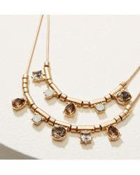 LOFT - Metallic Double Strand Geometric Crystal Necklace - Lyst