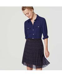 LOFT   Blue Petite Plaid Pleated Skirt   Lyst