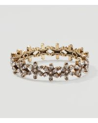 LOFT | Metallic Floral Crystal Stretch Bracelet | Lyst