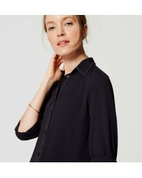 LOFT - Blue Back Pleat Utility Blouse - Lyst