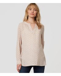 LOFT - Gray Maternity Floral Split Neck Tunic - Lyst