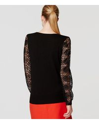 LOFT - Black Lace Sleeve Sweater - Lyst