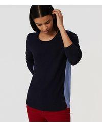 LOFT | Blue Stripe Back Mixed Media Sweater | Lyst