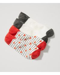 LOFT - Red Heart Stripe & Colorblock No Show Sock Set - Lyst