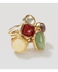 LOFT - Metallic Mixed Stone Ring Set - Lyst