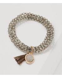 LOFT - Metallic Tasseled Beaded Stretch Bracelet - Lyst