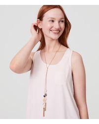 LOFT - Metallic Double Stone Tassel Necklace - Lyst