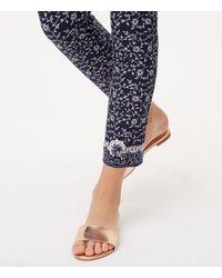 LOFT - Blue Floral Essential Skinny Ankle Pants In Marisa Fit - Lyst