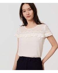 LOFT | White Petite Pintucked Lace Ruffle Top | Lyst