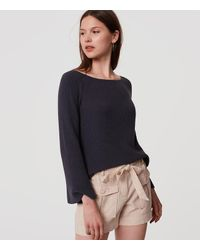 LOFT - Gray Bar Bell Sleeve Sweater - Lyst