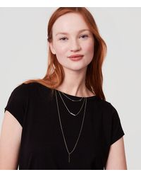 LOFT - Metallic Layered Pearlized Necklace - Lyst