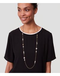 LOFT | Metallic Pearlized Stone Station Necklace | Lyst