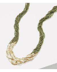 LOFT - Multicolor Metallic Bar Multistrand Beaded Necklace - Lyst