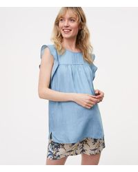 LOFT | Blue Maternity Chambray Pintucked Flutter Shell | Lyst