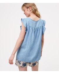 LOFT - Blue Maternity Chambray Pintucked Flutter Shell - Lyst